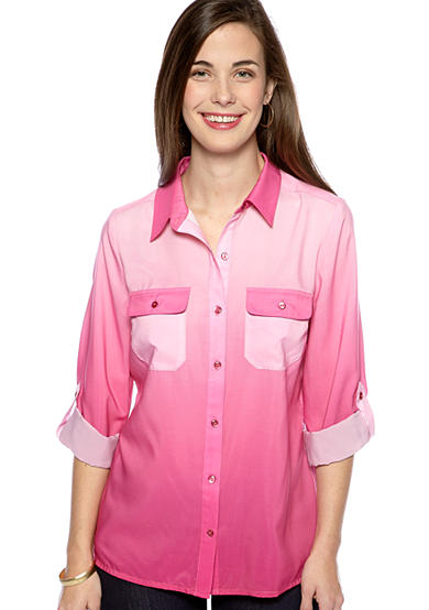 Kim Rogers® Petite Button Down Ombre Blouse with Roll Tab Sleeves