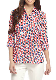 Kim Rogers Petite Size Windowpane Print Top