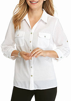 Kim Rogers Petite Elbow Sleeve Y-Neck Camp Shirt