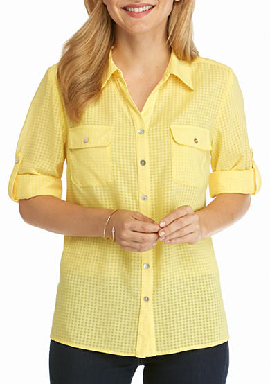 Kim Rogers® Petite Elbow Sleeve Y-Neck Camp Shirt