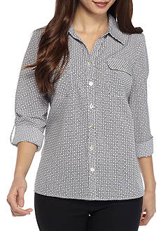 Kim Rogers Petite Size Y Neck 3/4 Sleeve Printed Utility Shirt