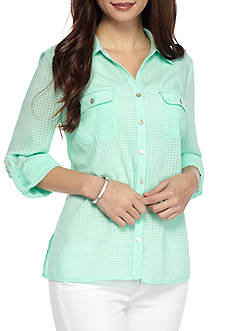 Kim Rogers Petite Size Utility Button Down Top