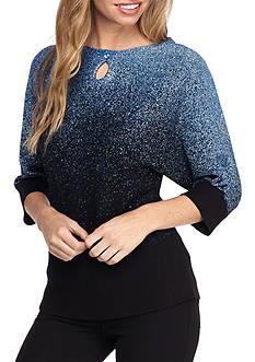 Kim Rogers Petite Glitter Wide Crew Neck Pullover Top
