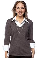 Kim Rogers® Petite Marled Layered Sweater