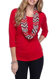 Kim Rogers Women's Petite Scarf Sweater