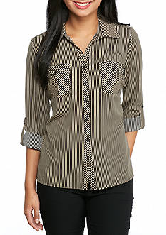 Kim Rogers Petite Stripe Camp Shirt