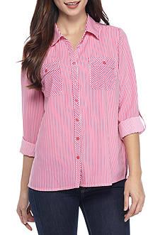 Kim Rogers Petite Size Stripe Camp Shirt