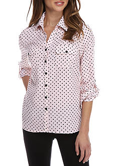 Kim Rogers Petite Size Allover Print Button Up Blouse