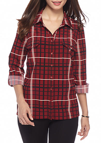 Kim Rogers® Petite Plaid Print Camp Shirt