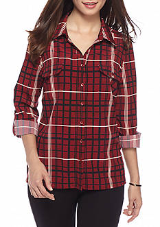 Kim Rogers Petite Plaid Print Camp Shirt