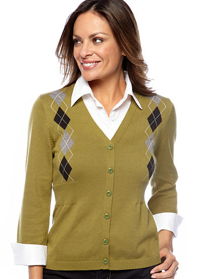 Kim Rogers® Petite 3/4 Sleeve Printed Argyle Sweater Layered Top