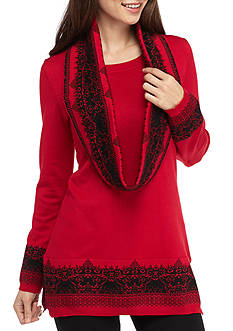Kim Rogers Petite Scarf Sweater