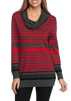 Kim Rogers Petite Cowl Neck Stripe Tunic
