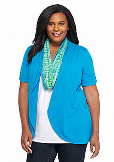Kim Rogers® Plus Size Short Sleeve 2Fer Top with Scarf