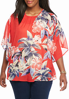 Kim Rogers Plus Size Bell Sleeve Blouse