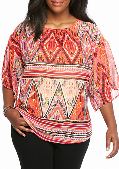 Kim Rogers® Plus Size Bell Sleeve Woven Knit Top
