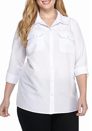 Kim Rogers® 3/4 Sleeve Flap Pocket Button Front Roll Tab Top