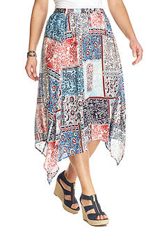 Kim Rogers® Plus Size Printed Seamed Skirt