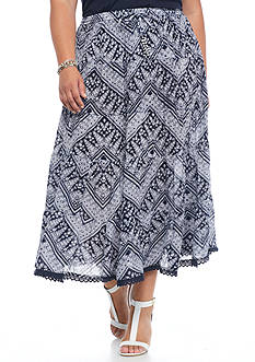 Kim Rogers® Plus Size Printed Tiered Skirt