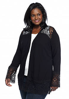 Kim Rogers® Plus Size Long Sleeve Crochet Trim Cozy Top