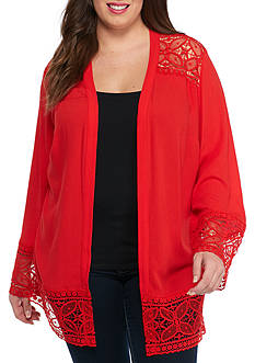 Plus Size Long Sleeve Crochet Trim Cozy Top