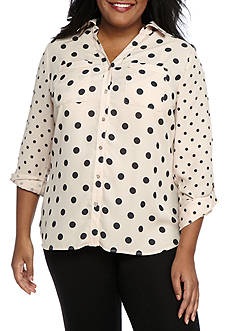 Kim Rogers Plus Size Polka Dot Camp Shirt
