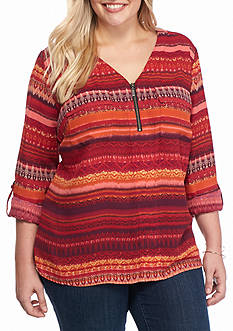 Kim Rogers Plus Size Three Quarter Sleeve Print Top