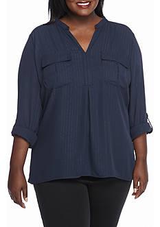 Kim Rogers Plus Size Woven Stripe Henley Top
