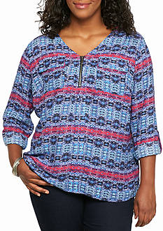 Kim Rogers Plus Size Printed Woven Top