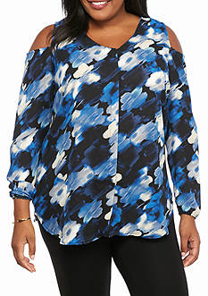 Kim Rogers Plus Size Open Cold Shoulder Print Blouse