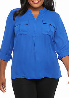 Kim Rogers® Hi Low Henley Solid Knit Top