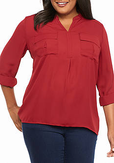Kim Rogers Hi Low Henley Solid Knit Top