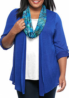 Kim Rogers Plus Size 3Fer Top With Scarf