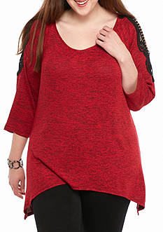 Kim Rogers Cold Shoulder Lace Sleeve Knit Top