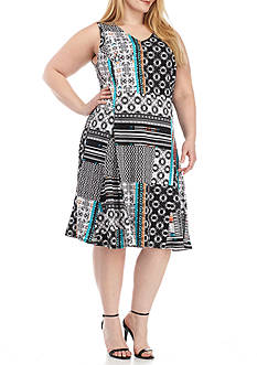 Kim Rogers Plus Size Printed V Neck Dress