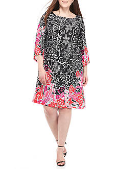 Kim Rogers® Plus Size Three-Quarter Angel Sleeve Dress