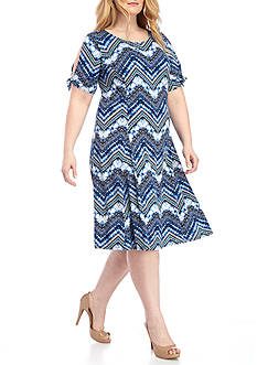 Kim Rogers® Plus Size Tie Sleeve Dress