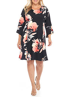 Kim Rogers® Plus Size Bell Sleeve Scoop Neck Dress