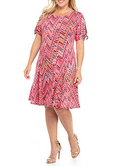 Kim Rogers Plus Size Tie Sleeve Scoop Neck Dress