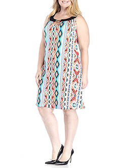 Kim Rogers® Plus Size Cleo Neck With Trim Dress