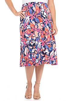 Kim Rogers Plus Size Flower Print Diagonal Seamed Skirt