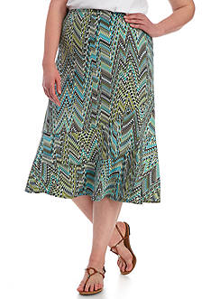 Kim Rogers Plus Size Stripe Diagonal Seamed Skirt