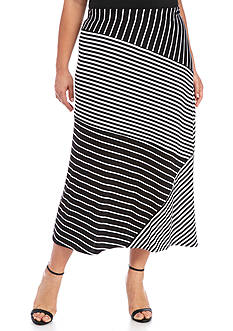 Kim Rogers Plus Size Spliced Stripe Skirt