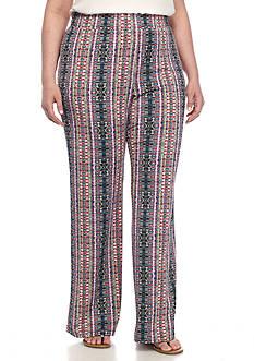 Kim Rogers Plus Size Wide Leg Printed Pants