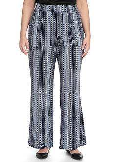 Kim Rogers Plus Size Stripe Patterned Soft Elastic Waist Pants