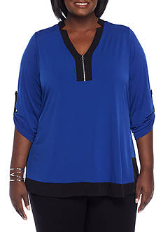 Kim Rogers Plus Size Front Zip Tunic