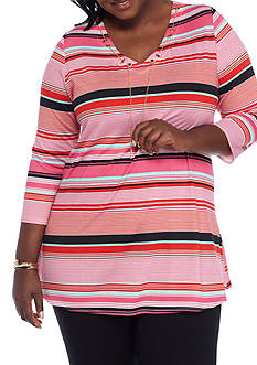 Kim Rogers Plus Size Stripe Chain Tunic