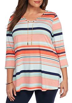 Kim Rogers Plus Size Stripe Chain Tunic