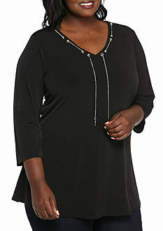 Kim Rogers Plus Size Solid Chain Tunic