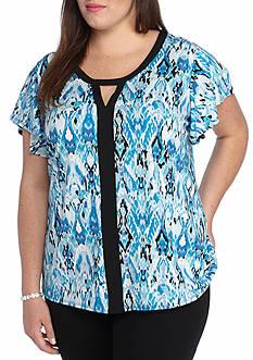 Kim Rogers Plus Size Keyhole Flutter Knit Top